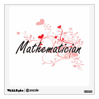 Mathematician Artistic Job Design with Hearts Room Decal