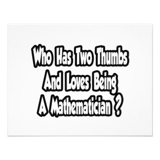 Mathematician Joke...Two Thumbs Personalized Announcement