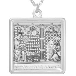 Mathematician Monks: one teaching the Globe Silver Plated Necklace
