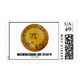 Mathematicians Love To Eat Pi (Pi On A Pie) Postage Stamp