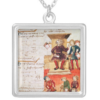 Mathematics Lesson, from a mathematical treatise Square Pendant Necklace
