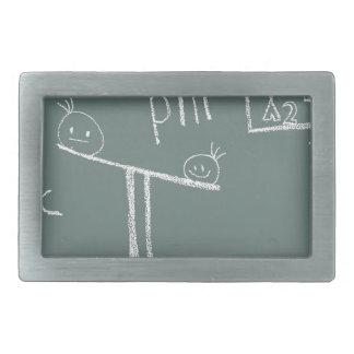 mathematics on green rectangular belt buckle