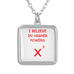 mathematics silver plated necklace