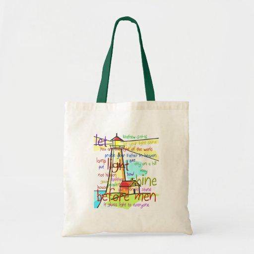 Mathew 5:14-16 Lighthouse 1 Budget Tote Bag