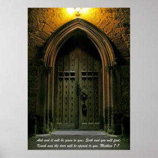 Mathew 7:7 Large Door Posters