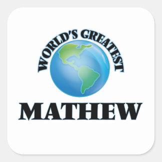 Mathew más grande del mundo calcomanía cuadradas personalizada