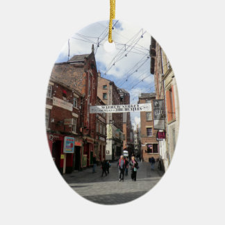 Mathew Street in Liverpool Double-Sided Oval Ceramic Christmas Ornament