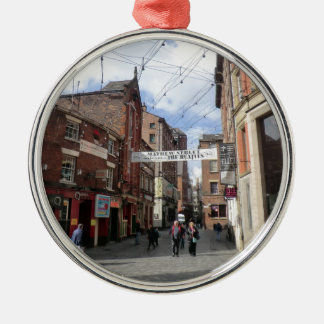 Mathew Street in Liverpool Round Metal Christmas Ornament