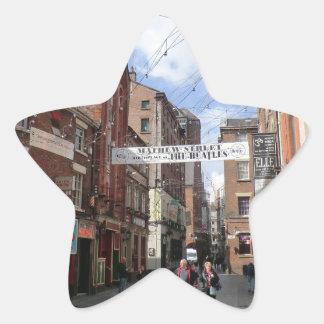 Mathew Street in Liverpool Star Sticker