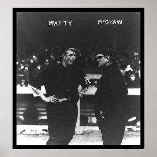 Mathewson McGraw Giants Baseball 1913 Poster