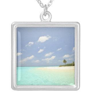 Mathidhoo Island, uninhabited, North Huvadhoo 3 Silver Plated Necklace