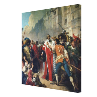 Mathieu Mole being stopped by the Parisian crowd o Stretched Canvas Print