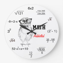 Maths addicted nerdy owl large clock