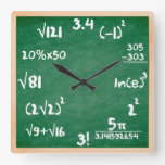 Maths Clock With Wooden Border at Zazzle