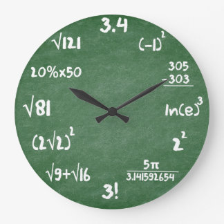 Maths Green Slate Mathematics Wall Clock