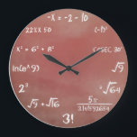 "Maths Quiz Wall Clock<br><div class=""desc"">Brown color. Geeky enough? (Also available in other colors)</div>"