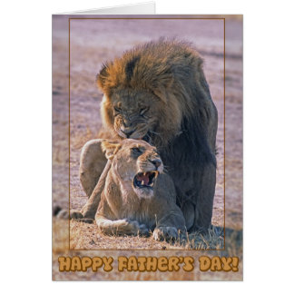 Mating lions greeting card