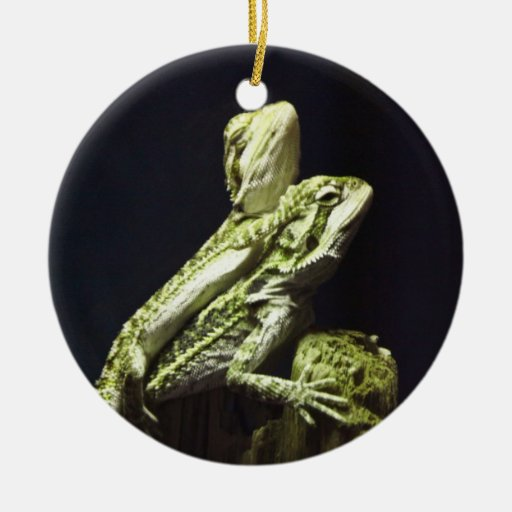 Mating Lizards Double-Sided Ceramic Round Christmas Ornament