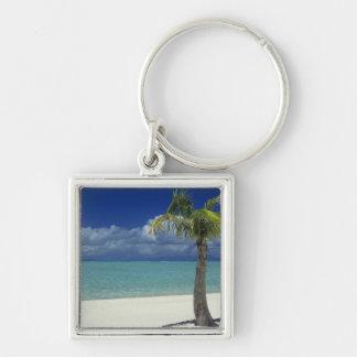 Matira Beach on the island of Bora Bora, 2 Silver-Colored Square Keychain