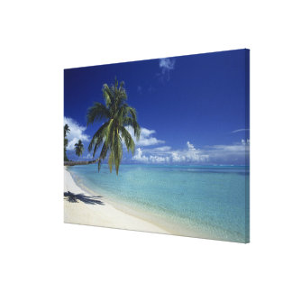 Matira Beach on the island of Bora Bora, Canvas Print
