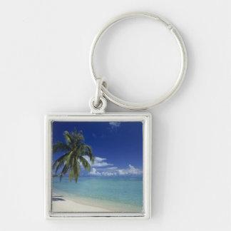 Matira Beach on the island of Bora Bora, Silver-Colored Square Keychain