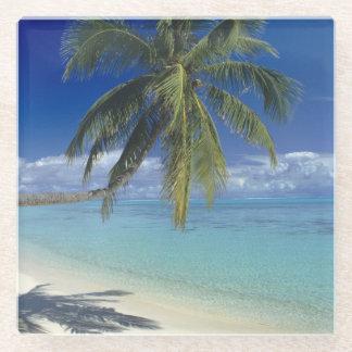 Matira Beach on the island of Bora Bora, Society Glass Coaster