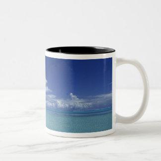 Matira Beach on the island of Bora Bora, Two-Tone Coffee Mug