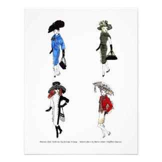 Matisse Doll Fashion Watercolors -2 Personalized Invites