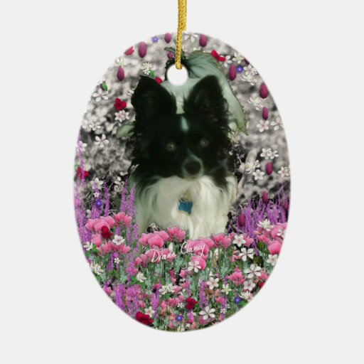 Matisse en las flores - blancas y el perro negro adorno navideño ovalado de cerámica