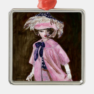 Matisse Fashion Watercolor Painting, Mauvy Metal Ornament