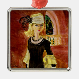 Matisse Fashion Watercolor Painting  Midnight Hour Metal Ornament