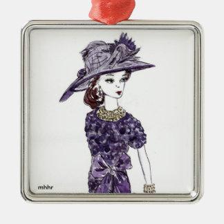 Matisse Fashion Watercolor - Plum Escape Christmas Tree Ornaments