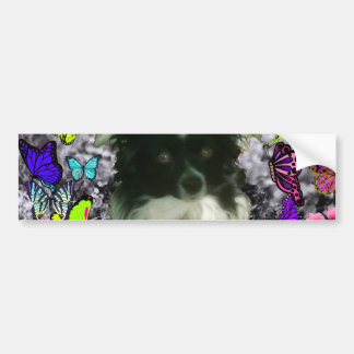 Matisse in Butterflies II - White & Black Papillon Bumper Sticker