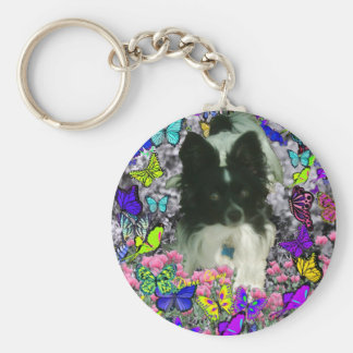 Matisse in Butterflies II - White & Black Papillon Keychain
