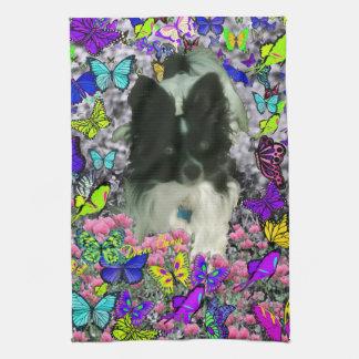 Matisse in Butterflies II - White - Black Papillon Hand Towel