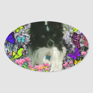 Matisse in Butterflies II - White & Black Papillon Oval Sticker