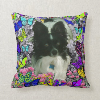 Matisse in Butterflies II - White & Black Papillon Throw Pillow