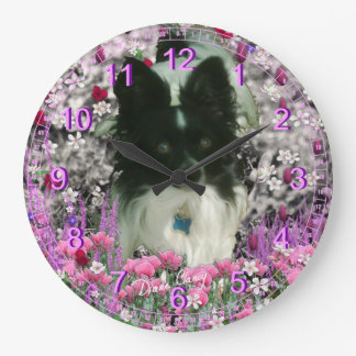 Matisse in Flowers - White and Black Papillon Large Clock