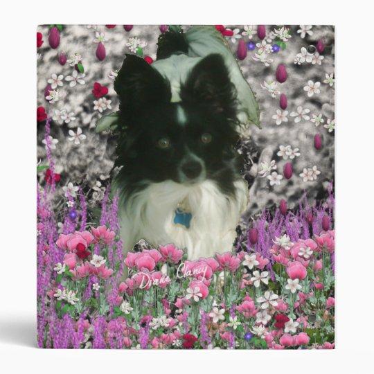 Matisse in Flowers - White & Black Papillon Dog 3 Ring Binder