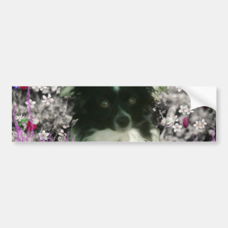 Matisse in Flowers - White & Black Papillon Dog Bumper Sticker