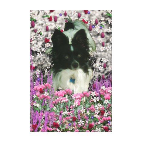 Matisse in Flowers - White & Black Papillon Dog Canvas Print