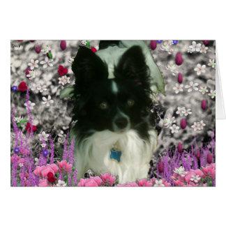 Matisse in Flowers - White & Black Papillon Dog Card