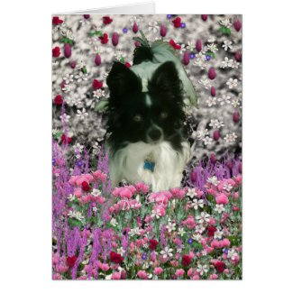 Matisse in Flowers - White & Black Papillon Dog Cards