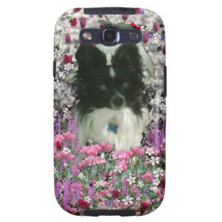 Matisse in Flowers - White & Black Papillon Dog Samsung Galaxy S3 Case