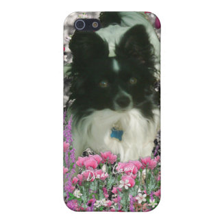 Matisse in Flowers - White & Black Papillon Dog Case For iPhone SE/5/5s