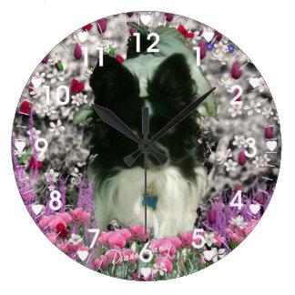 Matisse in Flowers - White & Black Papillon Dog Wallclocks