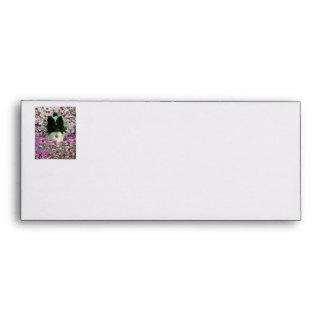 Matisse in Flowers - White Black Papillon Dog Envelopes