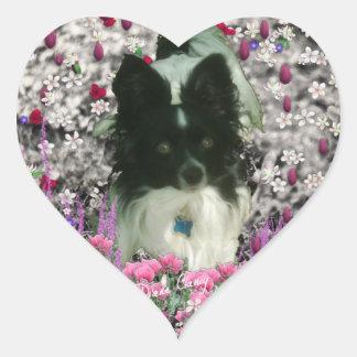 Matisse in Flowers - White & Black Papillon Dog Heart Sticker