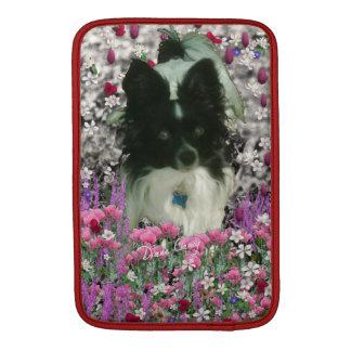 Matisse in Flowers - White & Black Papillon Dog MacBook Air Sleeve