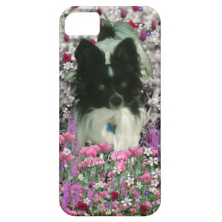 Matisse in Flowers - White & Black Papillon Dog iPhone SE/5/5s Case